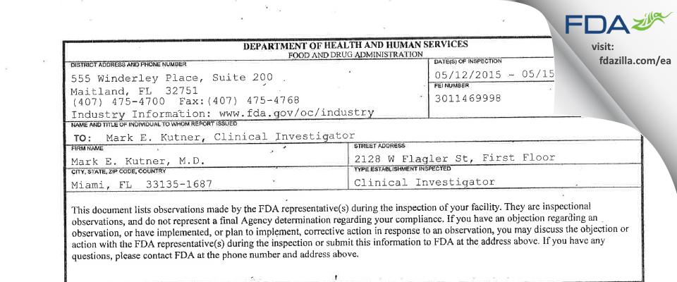 Mark E. Kutner, MD FDA inspection 483 May 2015