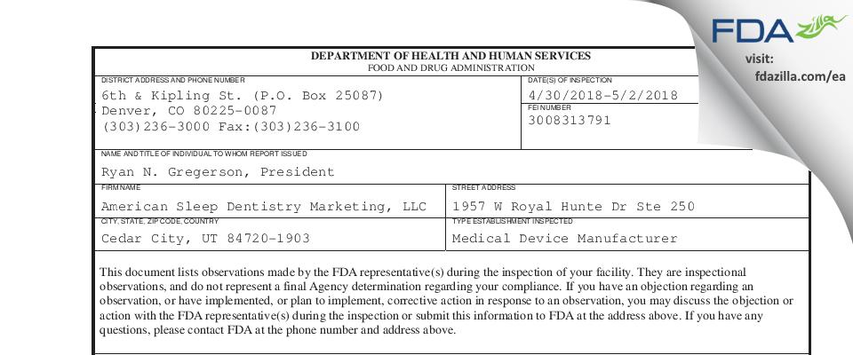 American Sleep Dentistry Marketing FDA inspection 483 May 2018