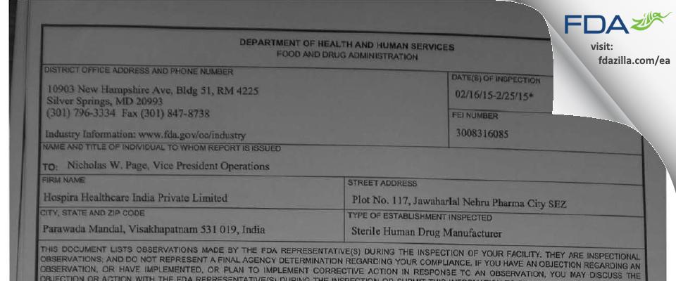 Hospira Healthcare India Private FDA inspection 483 Feb 2015