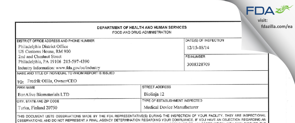 Bonalive Biomaterials FDA inspection 483 Dec 2014
