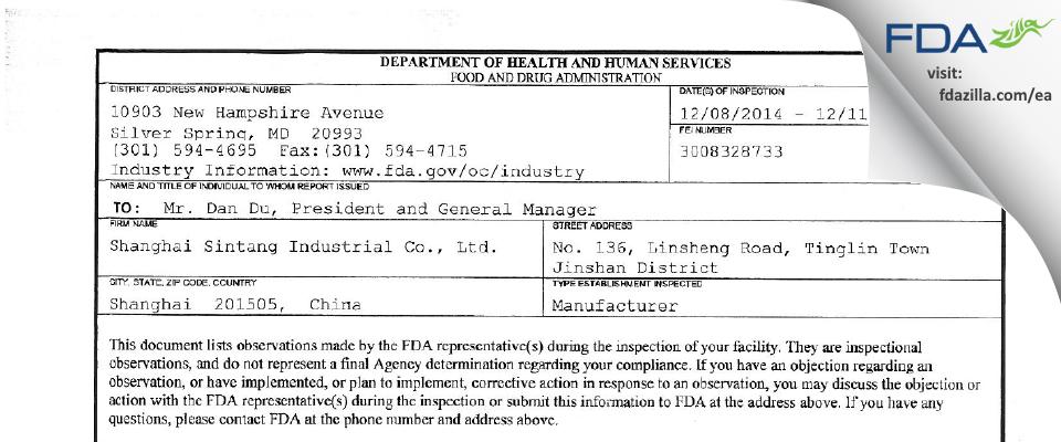 Shanghai Sintang Industrial FDA inspection 483 Dec 2014
