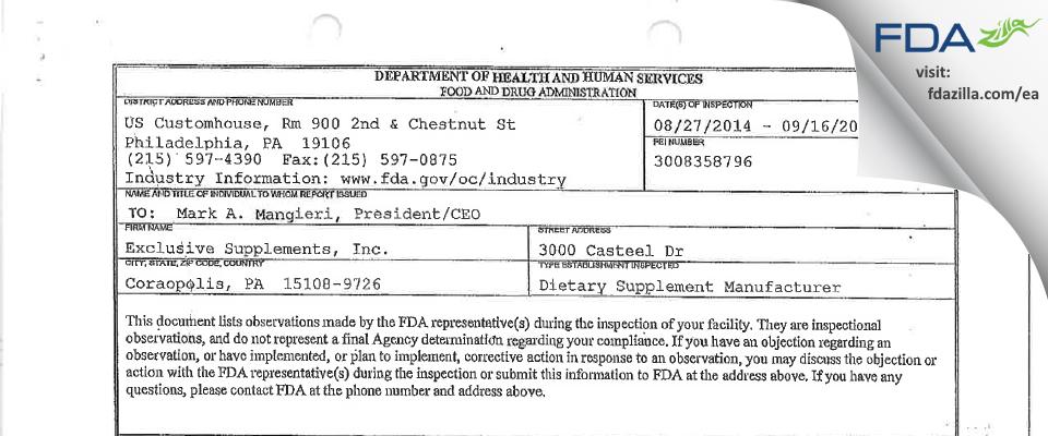 Exclusive Supplements FDA inspection 483 Sep 2014