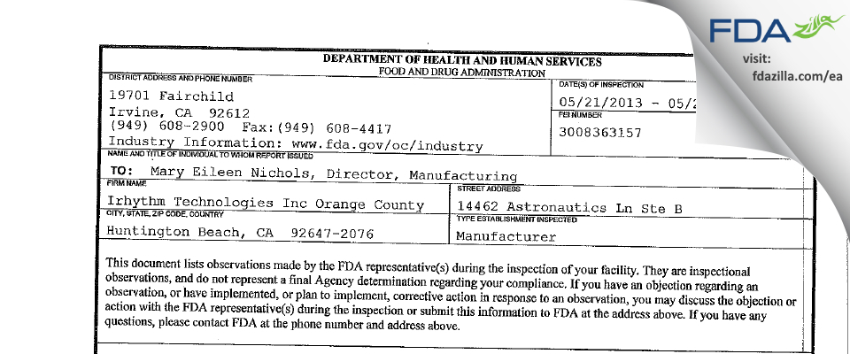 Irhythm Technologies Orange County FDA inspection 483 May 2013