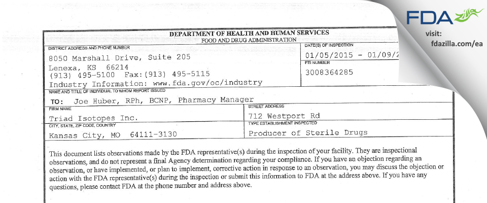 Triad Isotopes FDA inspection 483 Jan 2015