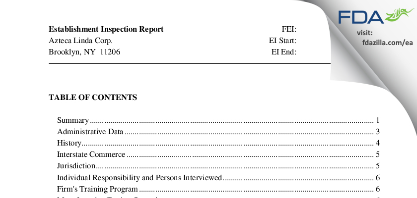 Azteca Linda FDA inspection 483 Jun 2010