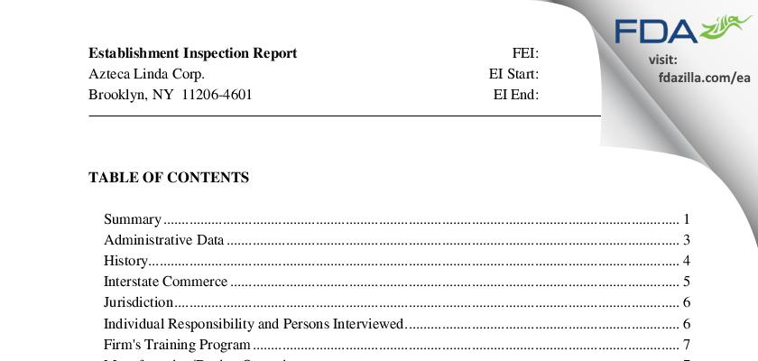 Azteca Linda FDA inspection 483 Sep 2010