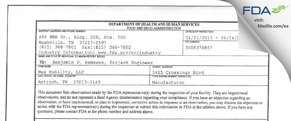 Max Mobility FDA inspection 483 Apr 2015