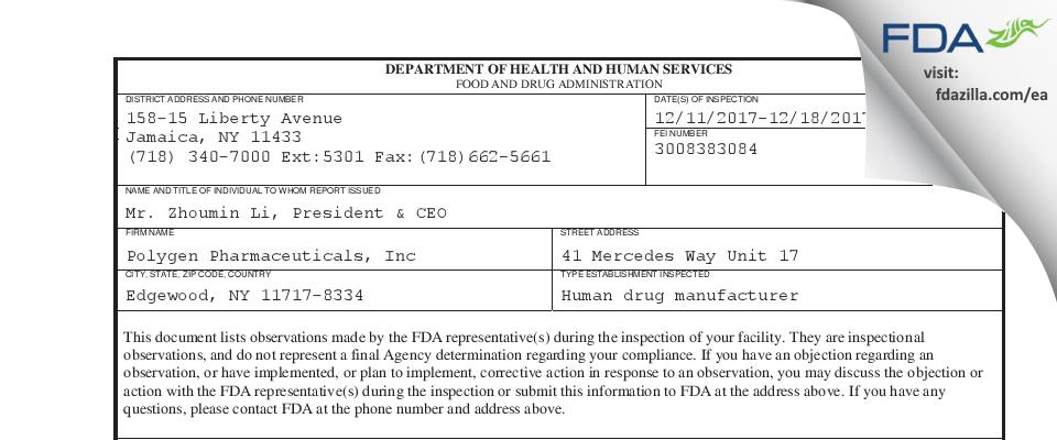 Polygen Pharmaceuticals FDA inspection 483 Dec 2017