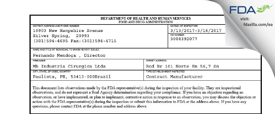 Mb Industria Cirurgicaa FDA inspection 483 Mar 2017