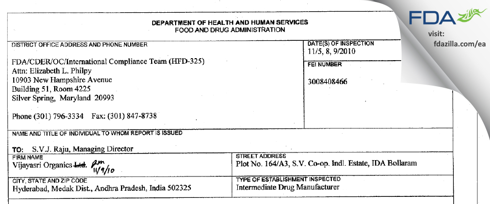 Vijaysri Organics FDA inspection 483 Nov 2010
