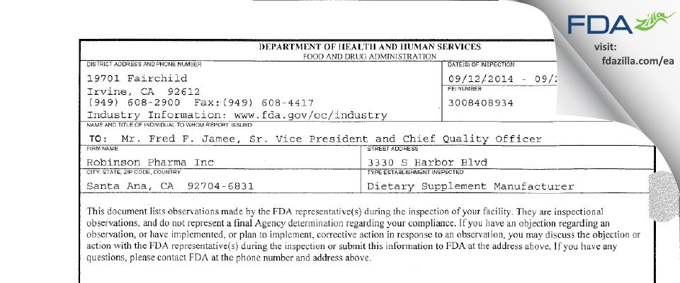 Robinson Pharma FDA inspection 483 Sep 2014