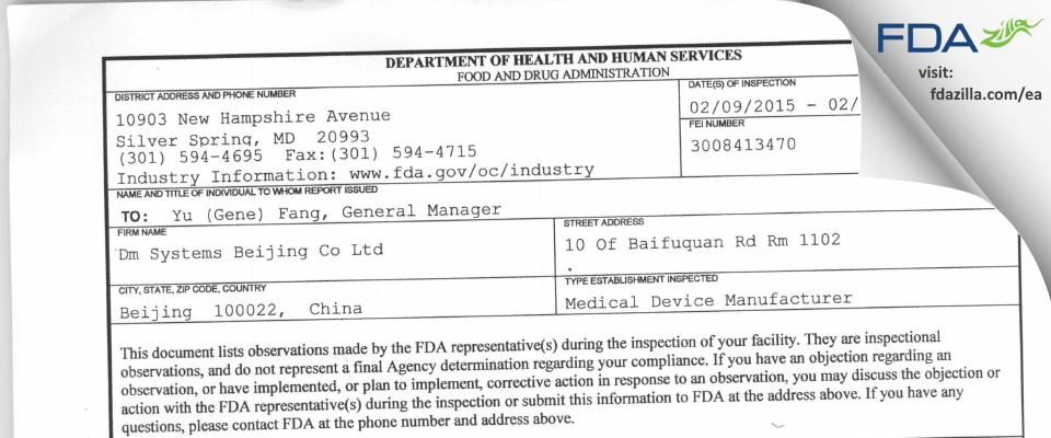 Dm Systems Beijing FDA inspection 483 Feb 2015