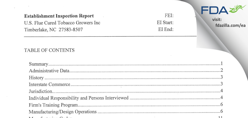 U.S. Flue Cured Tobacco Growers FDA inspection 483 Aug 2012