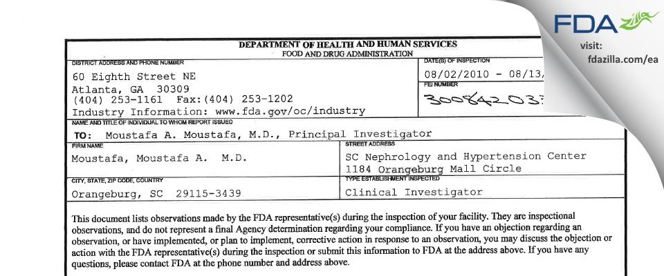 Moustafa, Moustafa A.  M.D. FDA inspection 483 Aug 2010