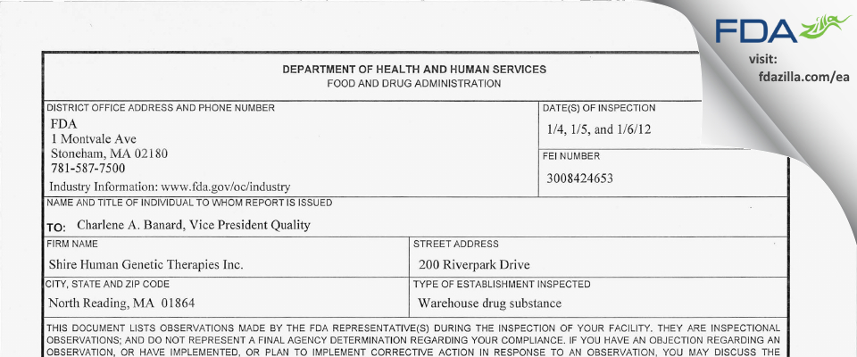 Shire FDA inspection 483 Jan 2012
