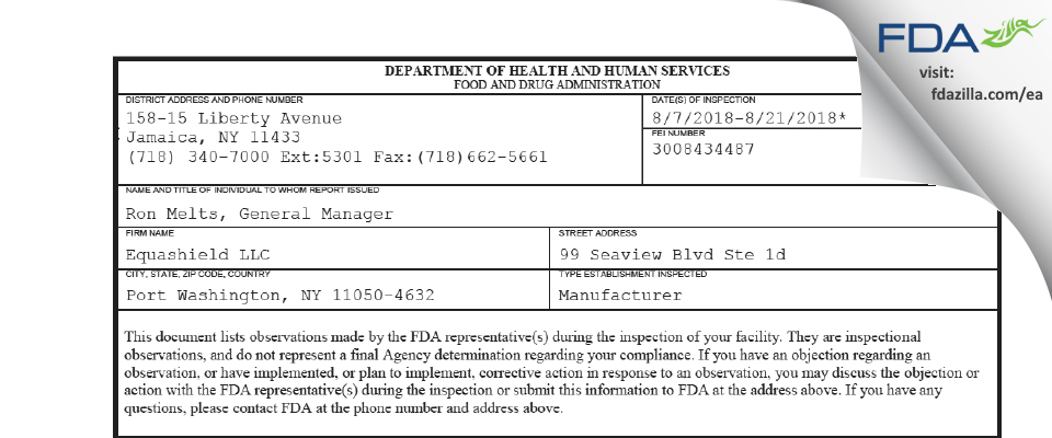 Equashield FDA inspection 483 Aug 2018