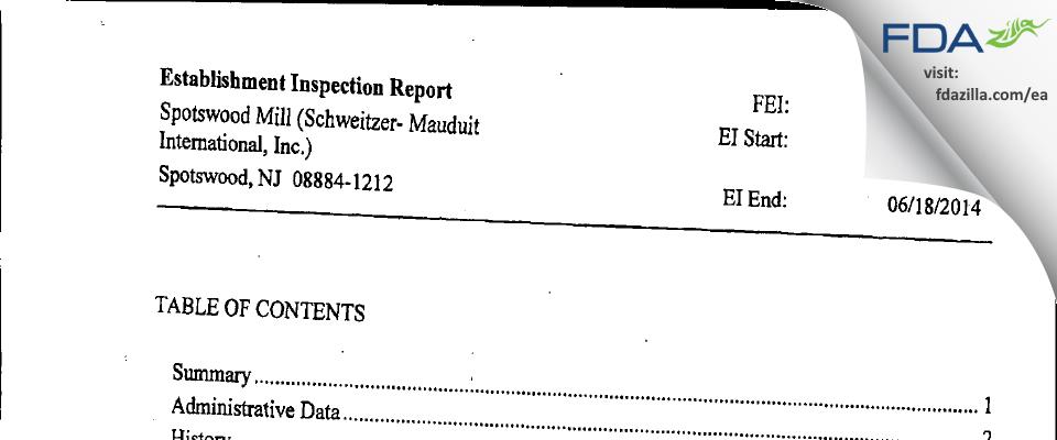 Schweitzer-Mauduit International (Spotswood Mill) FDA inspection 483 Jun 2014