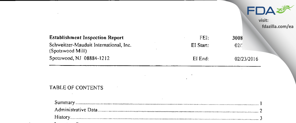 Schweitzer-Mauduit International (Spotswood Mill) FDA inspection 483 Feb 2016