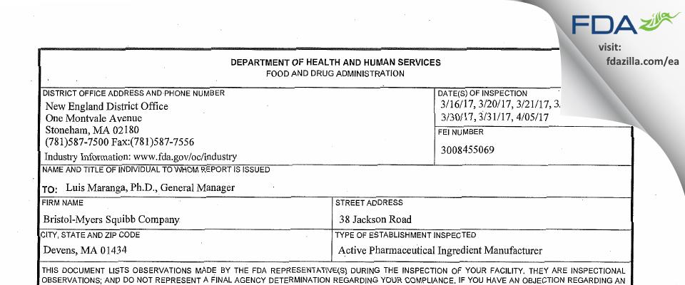 Bristol-Myers Squibb Company FDA inspection 483 Apr 2017