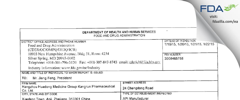 Hangzhou Huadong Med. Group Kangrun Pharmaceutical FDA inspection 483 Jan 2015