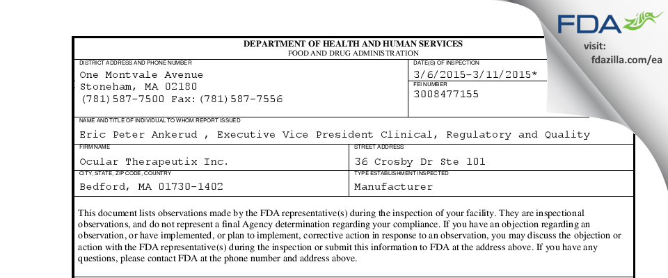 Ocular Therapeutix FDA inspection 483 Mar 2015