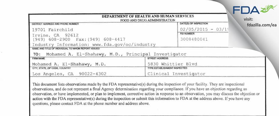 Mohamed A. El-Shahawy, M.D. FDA inspection 483 Mar 2015