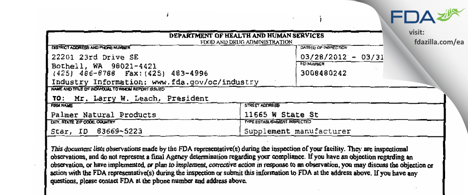 Palmer Natural Products FDA inspection 483 Mar 2012