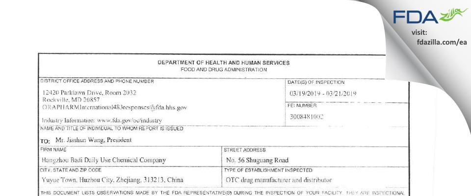 Hangzhou Badi Daily Use Chemical Company FDA inspection 483 Mar 2019