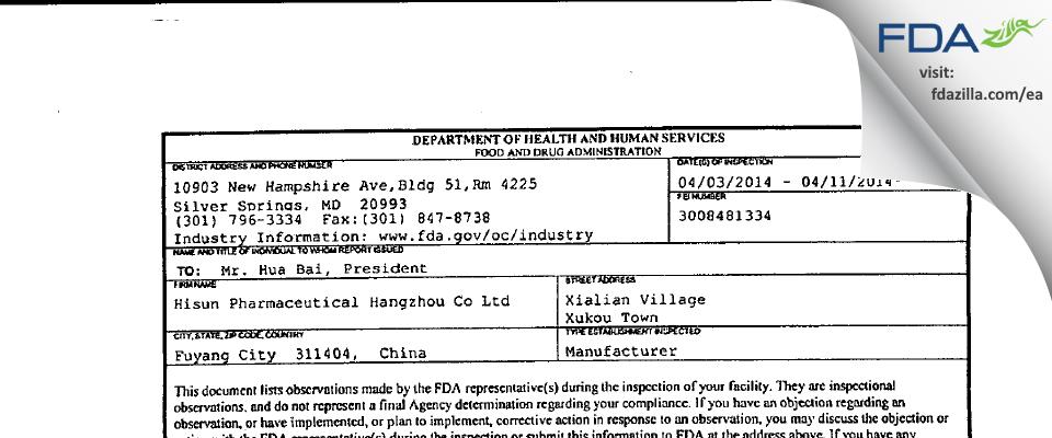 Hisun Pharmaceutical Hangzhou FDA inspection 483 Apr 2014
