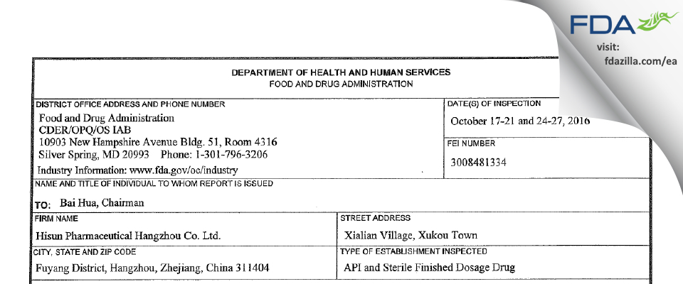 Hisun Pharmaceutical Hangzhou FDA inspection 483 Oct 2016