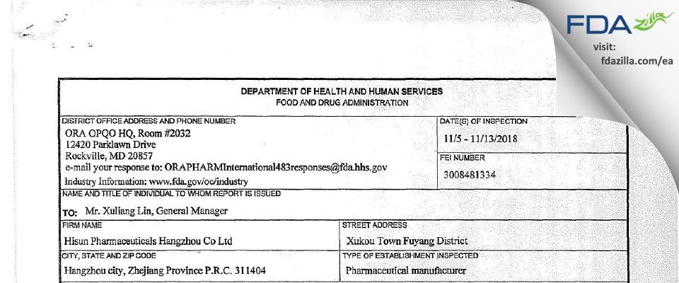 Hisun Pharmaceutical Hangzhou FDA inspection 483 Nov 2018