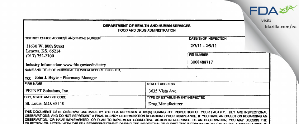Petnet Solutions FDA inspection 483 Feb 2011
