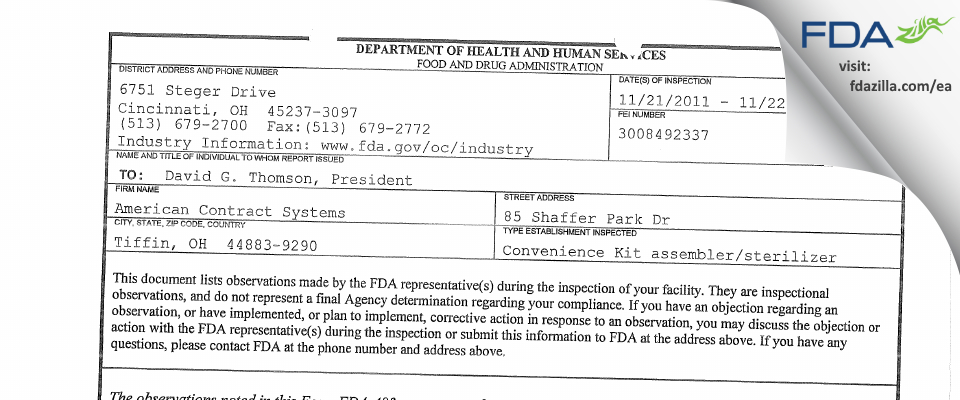 American Contract Systems FDA inspection 483 Nov 2011