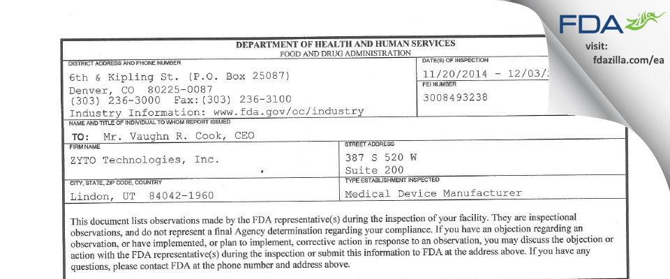 ZYTO Technologies FDA inspection 483 Dec 2014