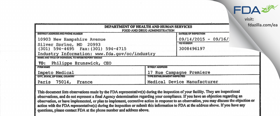 Impeto Medical FDA inspection 483 Sep 2015