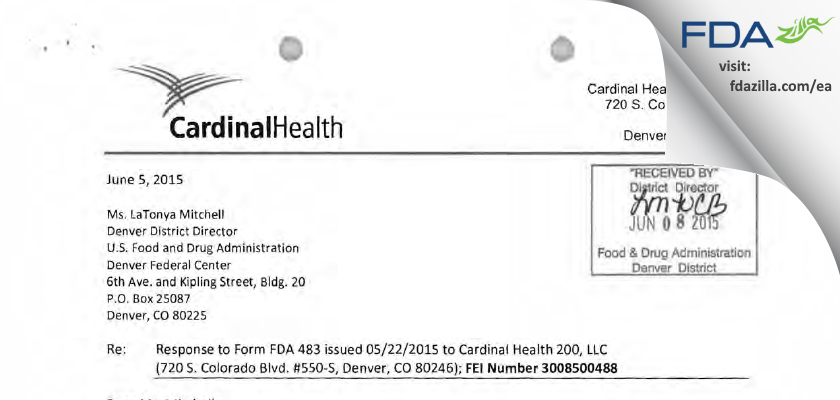 CARDINAL HEALTH 247, F/K/A EMERGE MEDICAL, FDA inspection 483 May 2015