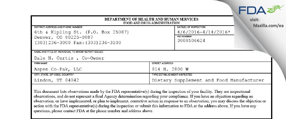 Aspen Co-Pak FDA inspection 483 Apr 2016
