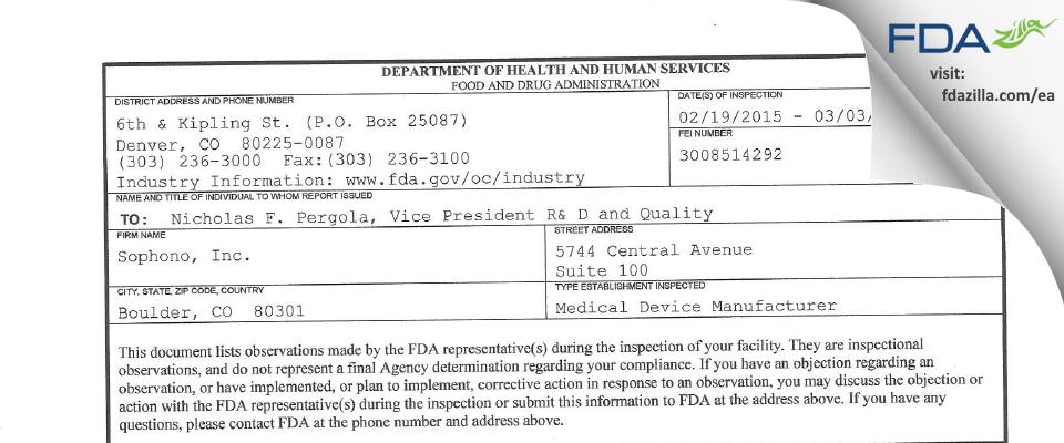 Sophono FDA inspection 483 Mar 2015