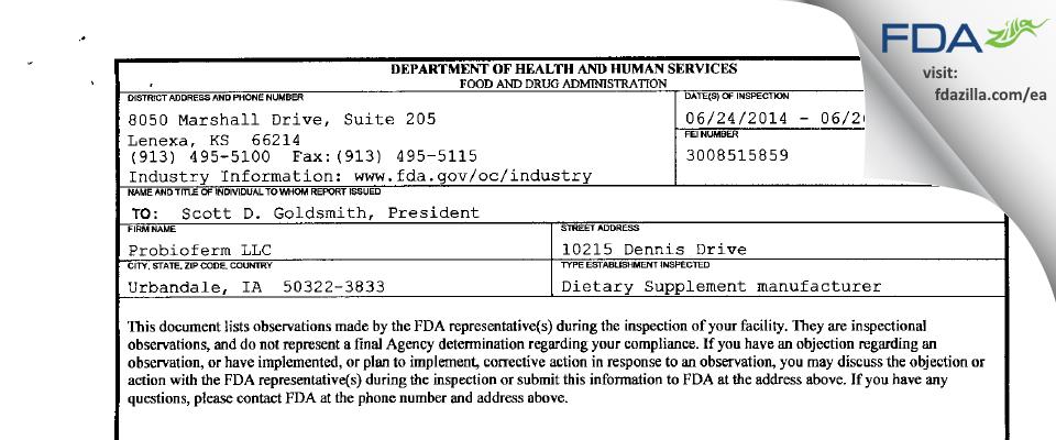Probioferm FDA inspection 483 Jun 2014