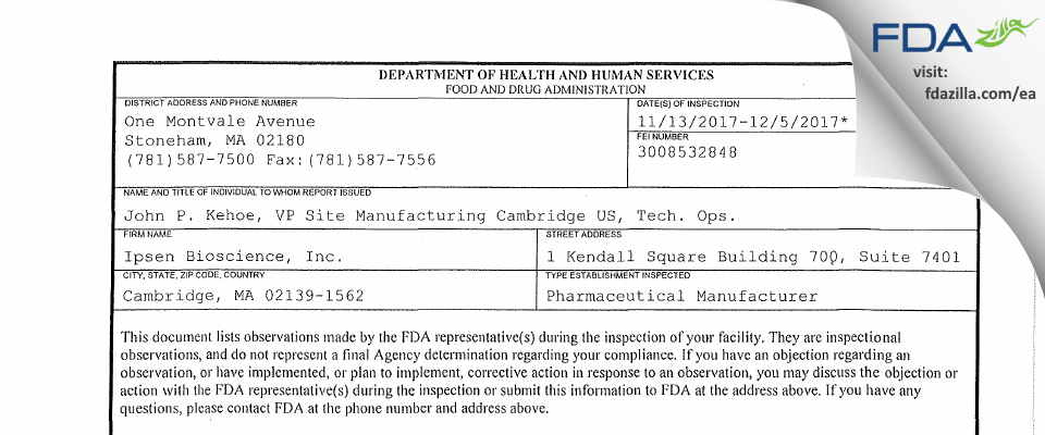 Ipsen Bioscience FDA inspection 483 Dec 2017