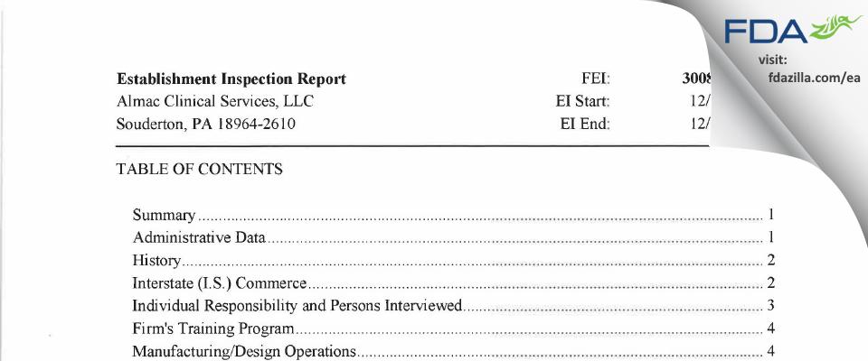 Almac Clinical Services FDA inspection 483 Dec 2017