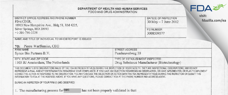 SynCo Bio Partners Bv FDA inspection 483 Jun 2012