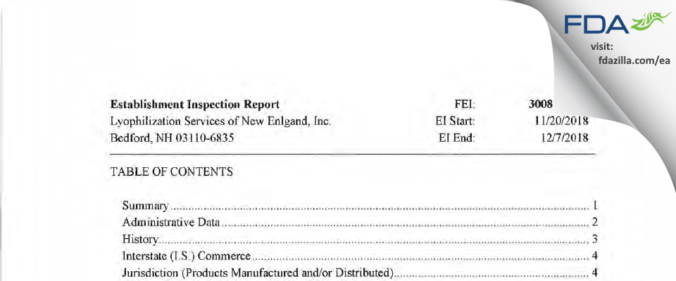 Lyophilization Services of New England FDA inspection 483 Dec 2018