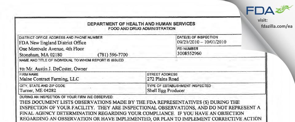 Maine Contract Farming FDA inspection 483 Oct 2010
