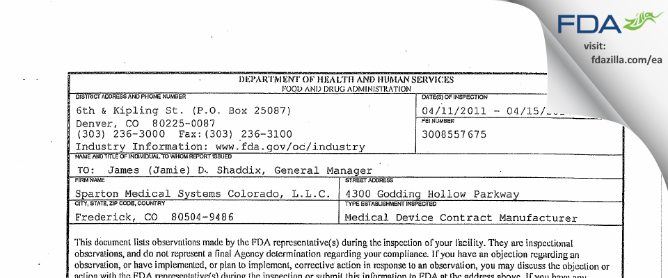 Sparton Medical Systems Colorado FDA inspection 483 Apr 2011