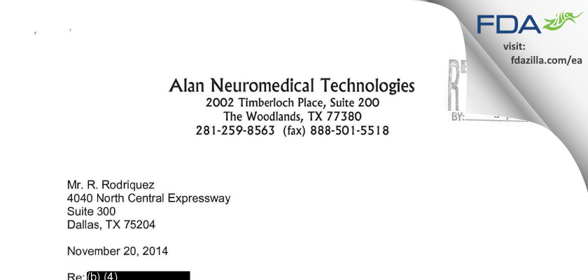 Dr. Donald A. Rhodes, D.P.M. dba Alan Neuromedical Tech. FDA inspection 483 Nov 2014
