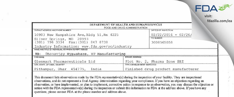 Glenmark Pharmaceuticals FDA inspection 483 Feb 2016