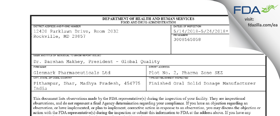 Glenmark Pharmaceuticals FDA inspection 483 May 2018
