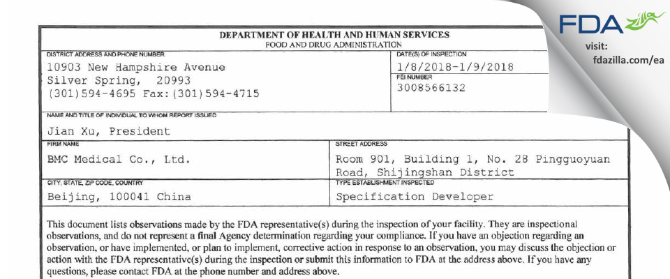 BMC Medical FDA inspection 483 Jan 2018