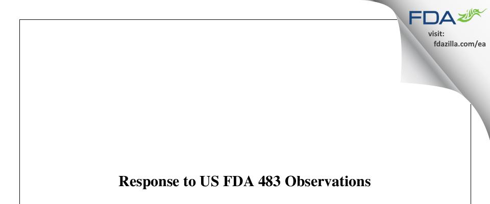 Sionc Pharmaceuticals Private FDA inspection 483 Aug 2019